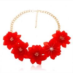 Mohutný náhrdelník, retiazka zlatej farby, veľké červené kvety, karabínka
