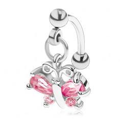 Oceľový piercing do obočia striebornej farby, ružový zirkónový motýľ