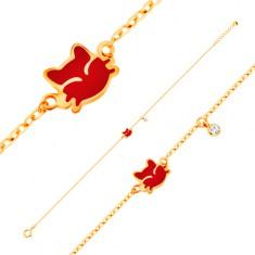 Šperky eshop - Náramok zo žltého 14K zlata, prívesky - červená mačička, číry zirkón GG137.02