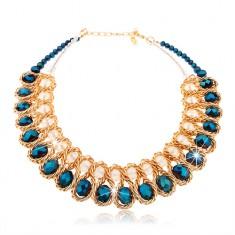 Masívny náhrdelník, modré a číre brúsené korálky, prepletená retiazka