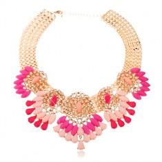 Mohutný náhrdelník zlatej farby, brúsené ružové kvapky a zrnká, číre zirkóny