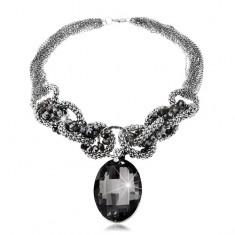 Ligotavý masívny náhrdelník sivo-modrej farby, veľký brúsený ovál, zirkóny