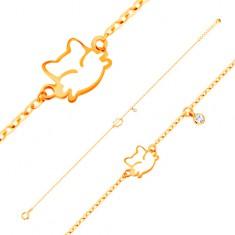 Šperky eshop - Náramok v žltom zlate 585, prívesky - zirkón a biela glazúrovaná mačička GG137.03