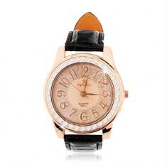 Náramkové hodinky z ocele - veľký ciferník so zirkónovým lemom, čierny remienok