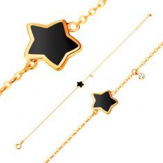 Šperky eshop - Náramok zo žltého 14K zlata, prívesky - hviezda s čiernou glazúrou, zirkón GG136.28