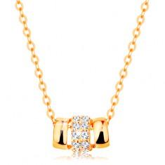 12789eb66 Šperky eshop - Náhrdelník zo žltého 14K zlata, tri spojené oblúčiky - dva  hladké a