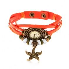 Analógové hodinky, ozdobne vyrezávané, pletený remienok oranžovej farby