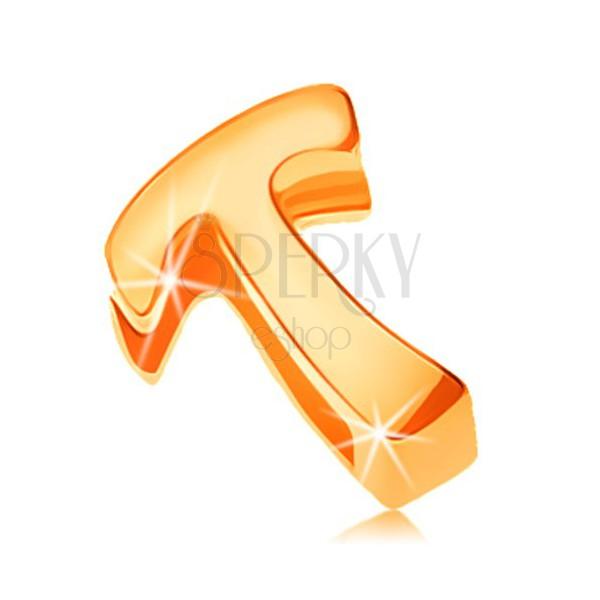 Zlatý 14K prívesok - lesklý a hladký povrch, tlačené veľké písmeno T
