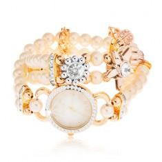 Analógové hodinky, ciferník so zirkónmi, náramok z bielych korálok, kvety