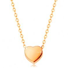 Šperky eshop - Náhrdelník zo žltého 14K zlata - lesklé súmerné srdiečko, retiazka z oválnych očiek GG139.23