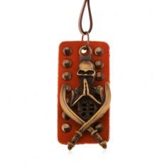 Šperky eshop - Nastaviteľný kožený náhrdelník - patinovaná kostra s mečmi, vybíjaný pás kože Z12.04