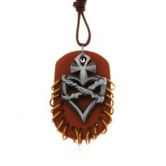 Náhrdelník z umelej kože, prívesky - hnedý ovál s krúžkami, srdce s krížom a drôtom