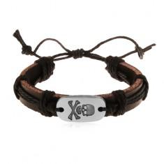 Šperky eshop - Kožený náramok tmavohnedej farby s čiernymi šnúrkami, ovál s lebkou Z17.19