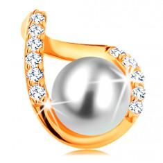 Šperky eshop - Prívesok zo žltého 14K zlata - zvlnený obrys kvapky so zirkónmi a bielou perlou GG123.10