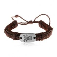 Šperky eshop - Tmavohnedý kožený náramok so šnúrkami, ovál s patinovanou lebkou Z18.19