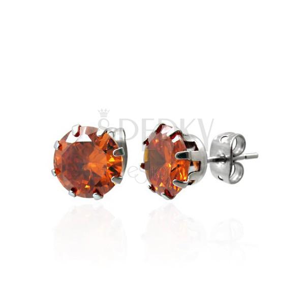 Náušnice z ocele s oranžovým zirkónom 7 mm