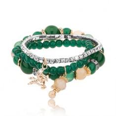 Korálkový multináramok - tri náramky, smaragdovo zelená farba, číre zirkóny
