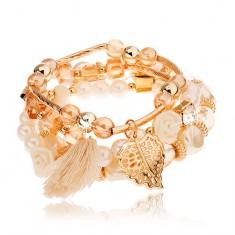 Multináramok - korálky zlatej, svetlohnedej a perleťovo bielej farby, prívesky