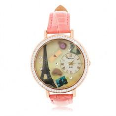 Analógové hodinky, ružový remienok, ciferník s motívom Paríža, číre zirkóny