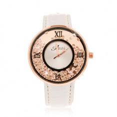 Náramkové hodinky - lesklý biely remienok, okrúhle číre zirkóniky