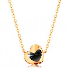 Šperky eshop - Náhrdelník zo žltého 14K zlata - lesklé srdiečko s čiernou glazúrou, retiazka GG139.09