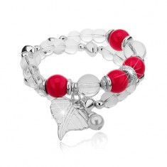 Elastický náramok, korálky fuksiovej, čírej a striebornej farby, prívesky - list a perlička