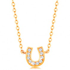 a986172f7 Šperky eshop - Náhrdelník v žltom 14K zlate - jemná retiazka, ligotavá  podkovička pre šťastie