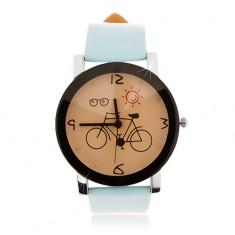 Náramkové hodinky, veľký ciferník s obrázkom bicykla, svetlomodrý remienok