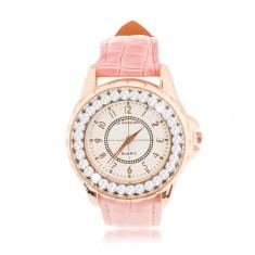 Náramkové hodinky z ocele - veľký ciferník so zirkónovým lemom, ružový remienok