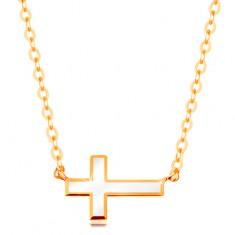 Náhrdelník zo žltého zlata 585 - biely glazúrovaný krížik, lesklá retiazka