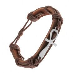 Šperky eshop - Tmavohnedý kožený náramok so šnúrkami, nílsky kríž striebornej farby Z21.05