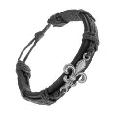Kožený náramok čiernej farby, patinovaný oceľový symbol Fleur de Lis