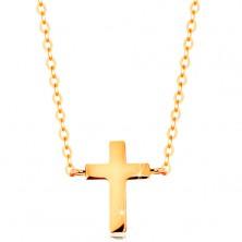 Náhrdelník v žltom zlate 585 - malý latinský krížik, lesklá retiazka