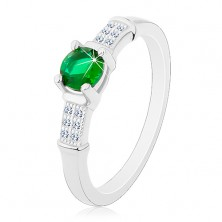 Zásnubný prsteň, striebro 925, zirkónové ramená, okrúhly zelený zirkón