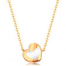 Zlatý náhrdelník 585 - lesklé srdiečko s bielou glazúrou, retiazka