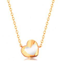 Šperky eshop - Zlatý náhrdelník 585 - lesklé srdiečko s bielou glazúrou, retiazka GG139.10