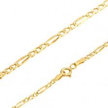 Zlatý 14K náramok, Figaro vzor - tri oválne očká, jeden podlhovastý článok, 215 mm