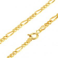 Retiazka v žltom 14K zlate - tri oválne očká, jedno dlhšie sploštené - Figaro, 500 mm