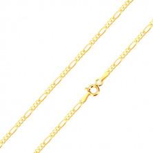 Retiazka v 9K žltom zlate, vzor Figaro - tri malé oválne a jedno podlhovasté očko, 450 mm