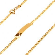 Náramok v žltom 14K zlate s platničkou, dve drobné prepojené očká, 175 mm
