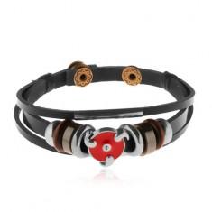 Multináramok z umelej kože, oceľové a drevené korálky, červený glazúrovaný kruh