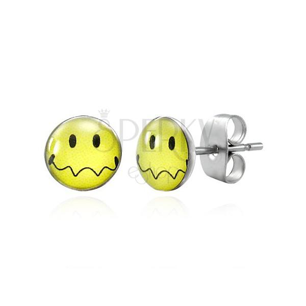 Náušnice z ocele - žltý smajlík so zvlnenými ústami, puzetky