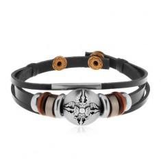 Nastaviteľný kožený náramok z troch pásov, korálky, oceľový kruh s ornamentom