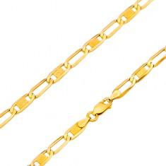 Šperky eshop - Zlatý 14K náramok - lesklé oválne očká s mriežkou a prázdne, 180 mm GG170.15