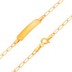 Zlatý 585 náramok s platničkou - lesklé ploché oválne očká, 175 mm