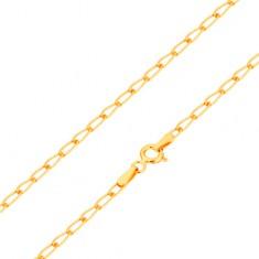 Náramok zo žltého 14K zlata - lesklé ploské oválne očká, 180 mm