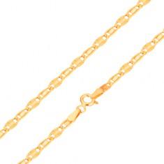 Náramok v žltom 14K zlate, hladký a lúčovitý článok, 185 mm