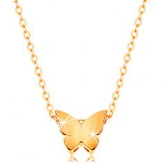 Zlatý 14K náhrdelník - lesklá retiazka, malý motýľ s hladkým povrchom