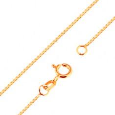 336eb54de Šperky eshop - Lesklá zlatá retiazka 375 - husto spájané hranaté očká, 500  mm GG171.08