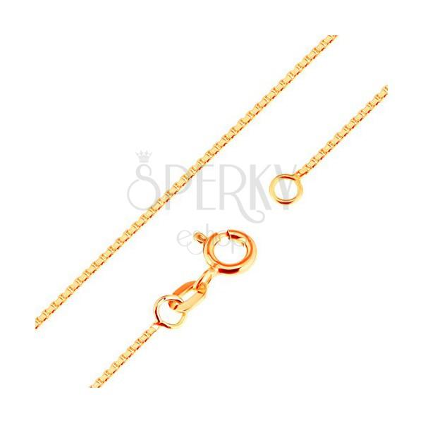 Lesklá zlatá retiazka 375 - husto spájané hranaté očká, 500 mm